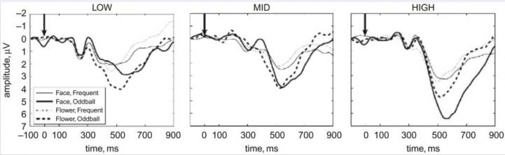 Активность мозга в теменной области у интровертов (график слева), у людей со средним уровнем экстраверсии (по центру) и экстравертов (график справа) в ответ на изображения лиц (сплошные линии) и цветов (пунктир). Чем ниже опускается график, тем интенсивнее реакция