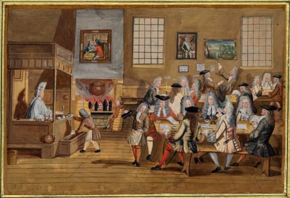Кофейни в Европе на рубеже XVII и XVIII века стали прооборозом современых соцсетей. Вы платили только за чашку кофе, как сейчас платите за интернет, а вся информация — разговоры, книги, журналы и газеты — прилагалась бесплатно. Многие первые журналы даже возникли в кафе и воспроизводили их стиль. Например, рубрики в «Татлере» были названы в честь кофеен, в которых было принято обсуждать соответствующие темы. Trustees of the British Museum (CC BY-NC-SA 4.0).